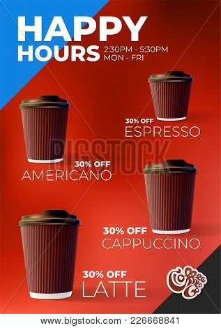 Coffee To Go Happy Hours Discount Poster Eps10