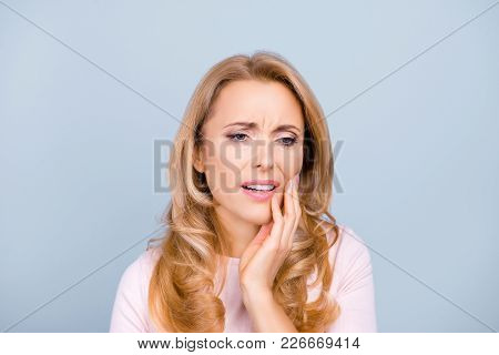Portrait Of Beautiful, Young, Woman Suffering From Terrible Strong Teeth Pain, Touching Cheek With H