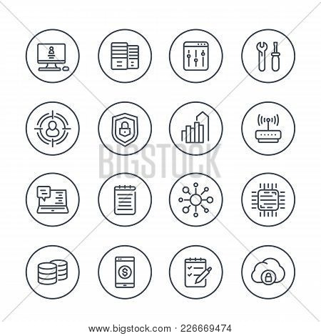 Communication And Technology Line Icons On White, Eps 10 File, Easy To Edit