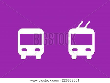 Bus And Trolleybus Icons, Transport Vector Signs, Eps 10 File, Easy To Edit