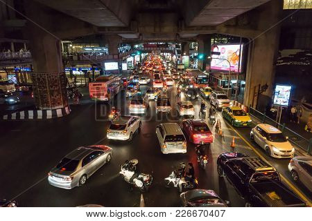 Traffic Jam On The Road In Rush Our At Siam Square ,bangkok ,thailand ,december 30 Th 2016
