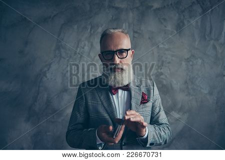 Professional, Experienced, Cunning, Old Gambler In Tux With Bow, Glasses, Shuffle Deck Of Card, Read