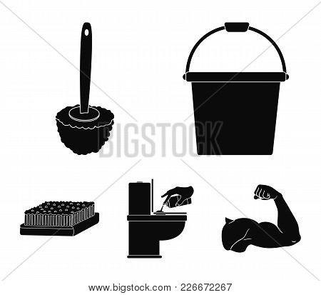 Cleaning And Maid Black Icons In Set Collection For Design. Equipment For Cleaning Vector Symbol Sto
