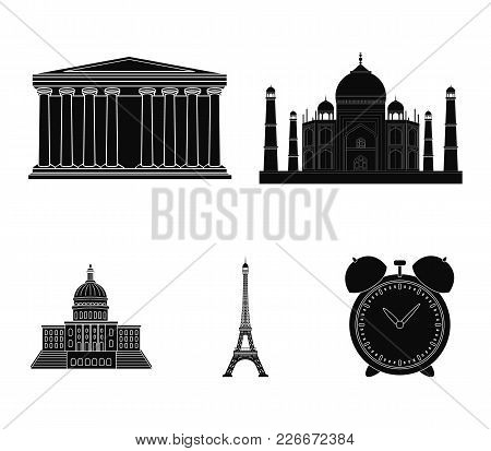 Building, Interesting, Place, Tower .countries Country Set Collection Icons In Black Style Vector Sy