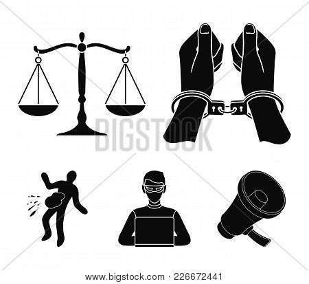 Handcuffs, Scales Of Justice, Hacker, Crime Scene.crime Set Collection Icons In Black Style Vector S