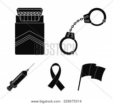 Handcuffs, Cigarettes, Aids Tape, Syringe. Drugs Set Collection Icons In Black Style Vector Symbol S