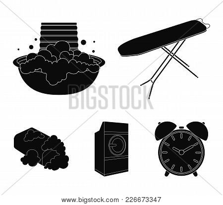 Ironing Board And Other Accessories. Dry Cleaning Set Collection Icons In Black Style Vector Symbol