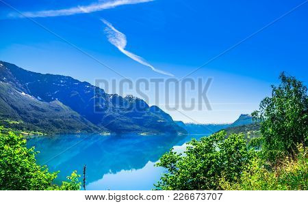 View On Spring Landscape Of Sognefjord In Norway