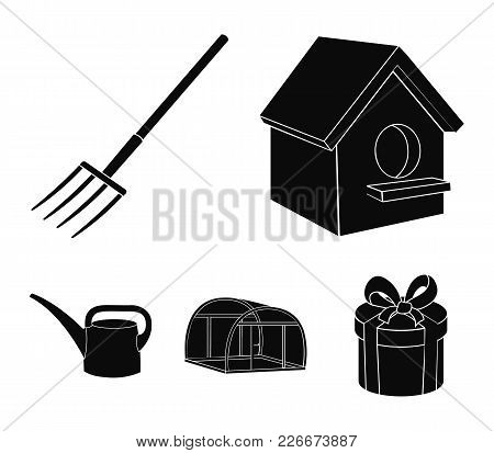Poultry House, Pitchfork, Greenhouse, Watering Can.farm Set Collection Icons In Black Style Vector S