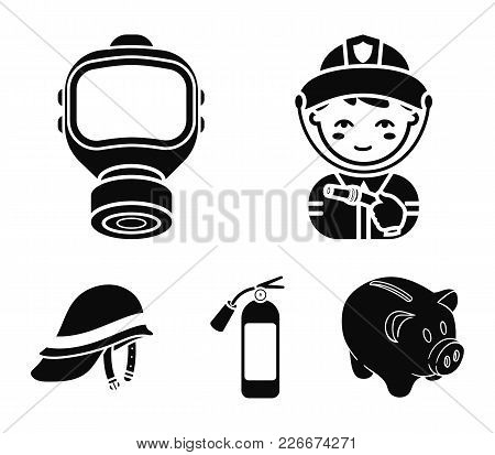 Fireman, Gas Mask, Fire Extinguisher, Helmet. Fire Department Set Collection Icons In Black Style Ve