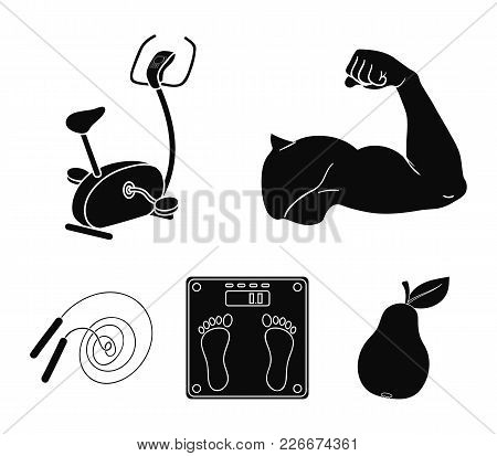 Biceps, Exercise Bike, Scales For Weighing, Skalka. Fitnes Set Collection Icons In Black Style Vecto