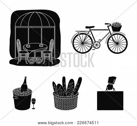 Bicycle, Transport, Vehicle, Cafe .france Country Set Collection Icons In Black Style Vector Symbol