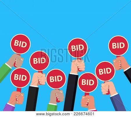 Hand Holding Auction Paddle. Bidding Concept. Auction Competition. Hands Rising Signs With Bid Inscr