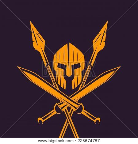 Spartans, Logo, Emblem With Spartan Helmet, Crossed Swords And Two Spears