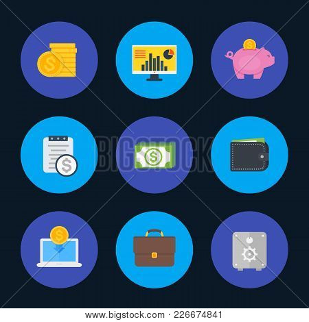 Finance, Money, Payments Icons Set, Flat Style, Eps 10 File, Easy To Edit