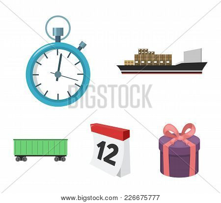 Cargo Ship, Stop Watch, Calendar, Railway Car.logistic, Set Collection Icons In Cartoon Style Vector