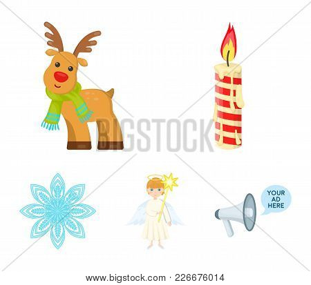 Christmas Candle, Deer, Angel And Snowflake Cartoon Icons In Set Collection For Design. Christmas Ve