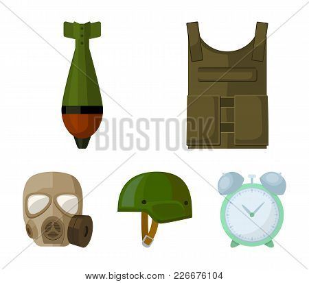 Bullet-proof Vest, Mine, Helmet, Gas Mask. Military And Army Set Collection Icons In Cartoon Style V