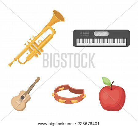Electro Organ, Trumpet, Tambourine, String Guitar. Musical Instruments Set Collection Icons In Carto