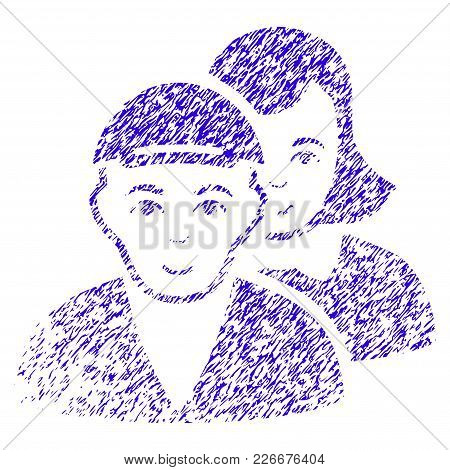 Grunge People Pair Rubber Seal Stamp Watermark. Icon Symbol With Grunge Design And Scratched Texture