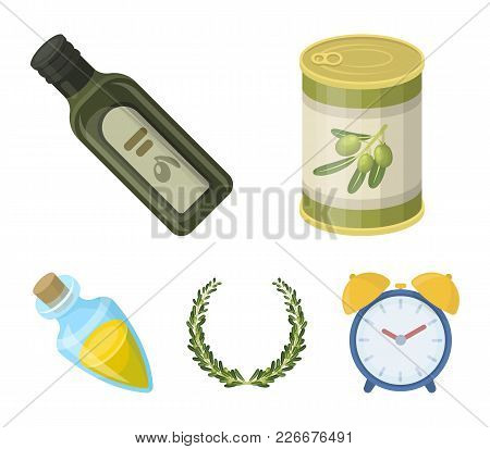 A Can Of Canned Olives, A Bottle Of Oil With A Sticker, An Olive Wreath, A Glass Jar With A Cork. Ol