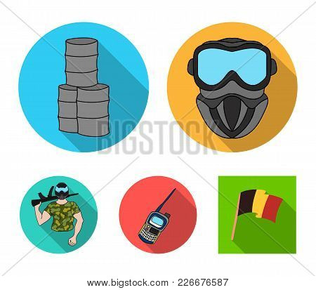 Equipment, Mask, Barrel, Barricade .paintball Set Collection Icons In Flat Style Vector Symbol Stock