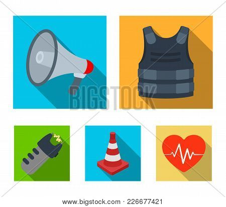 Bulletproof Vest, Megaphone, Cone Of Fencing, Electric Shock. Police Set Collection Icons In Flat St