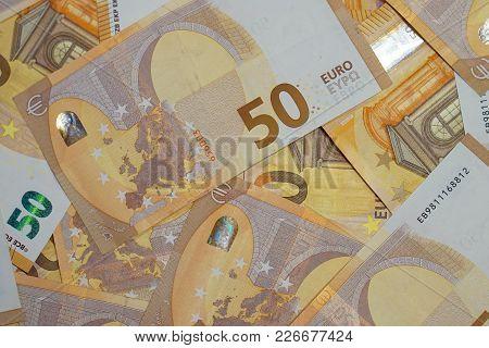 Background With Money 50 Euro Bills. 50 Euro Bills