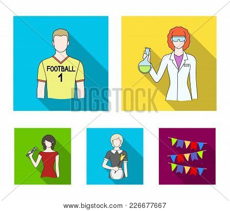 Woman Chemist, Football Player, Hotel Maid, Singer, Presenter.profession Set Collection Icons In Fla