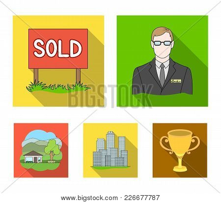 Employee Of The Agency, Sold, Metropolis, Country House. Realtor Set Collection Icons In Flat Style