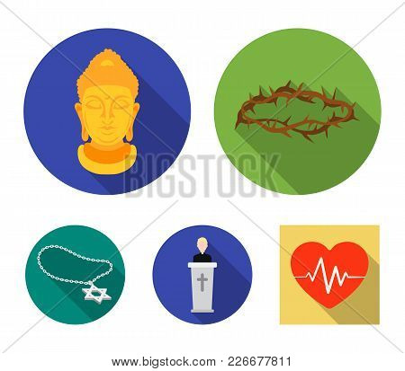 A Crown Of Thorns, A Star Of David, A Priest, A Buddha's Head. Religion Set Collection Icons In Flat