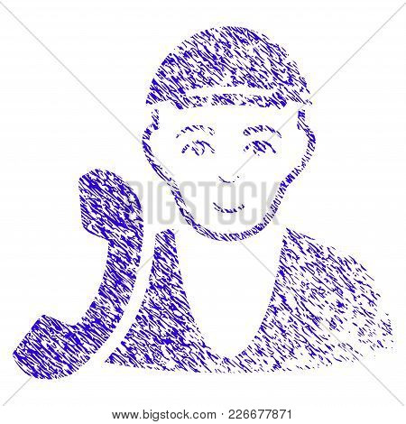 Grunge Receptionist Guy Rubber Seal Stamp Watermark. Icon Symbol With Grunge Design And Dust Texture