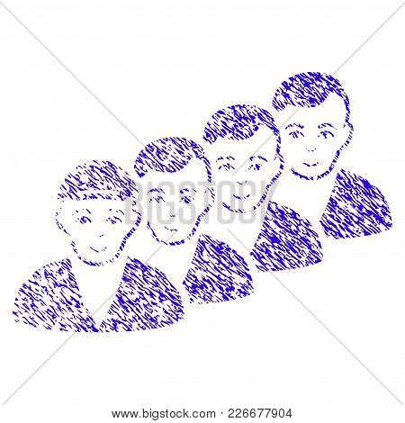 Grunge People Queue Rubber Seal Stamp Watermark. Icon Symbol With Grunge Design And Dust Texture. Un