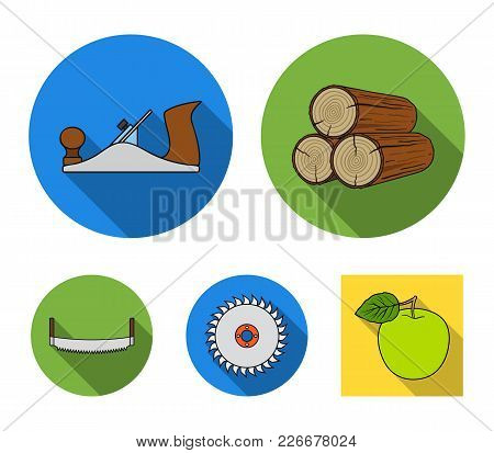 Logs In Stacks, Two-handed Saws, Circular Saw. Sawmill And Timber Set Collection Icons In Flat Style