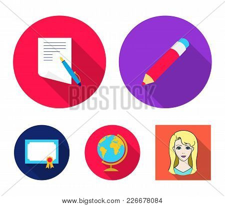 Red Pencil, A Sheet Of Paper With A Blue Handle, A Diploma With A Seal, A Globe On A Stand.school Se