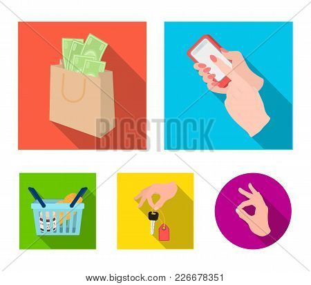 Mobile Phone, A Package With Money And Other  Icon In Flat Style. A Key In Hand, A Basket With Food