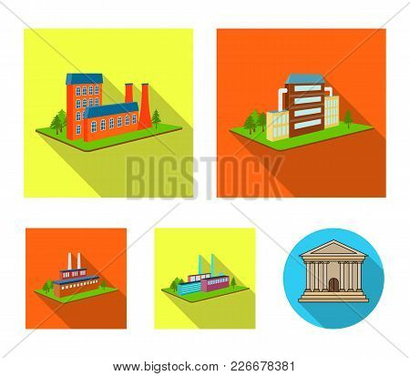 Processing Factory, Metallurgical Plant. Factory And Industry Set Collection Icons In Flat Style Iso