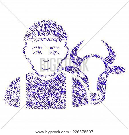 Grunge Cow Farmer Rubber Seal Stamp Watermark. Icon Symbol With Grunge Design And Unclean Texture. U