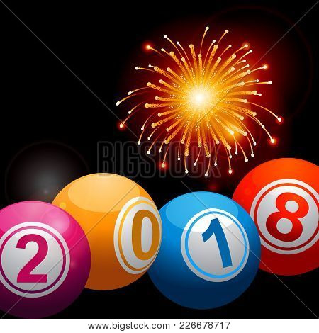3d Illustration Of Bingo Lottery Balls With 2018 New Years Date Over Black Background With Fireworks