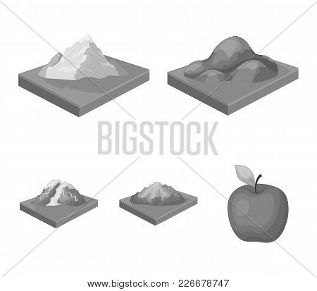 Mountains, Rocks And Landscape. Relief And Mountains Set Collection Icons In Monochrome Style Isomet