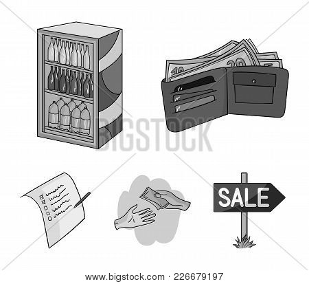Purchase, Goods, Shopping, Showcase .supermarket Set Collection Icons In Monochrome Style Vector Sym