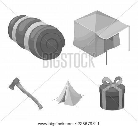 Tent With Awning, Ax And Other Accessories.tent Set Collection Icons In Monochrome Style Vector Symb