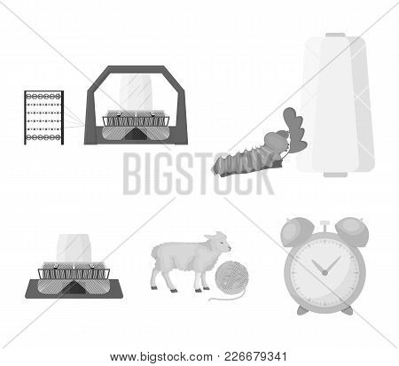 Cotton, Coil, Thread, Pest, And Other  Icon In Monochrome Style. Textiles, Industry, Gear Icons In S