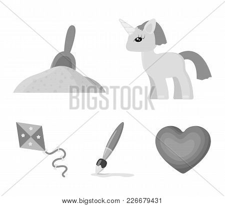 Children's Toy Monochrome Icons In Set Collection For Design. Game And Bauble Vector Symbol Stock We