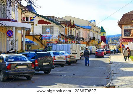 Kosiv Ivano-frankivsk Region / Ukraine - 29 October 2017 / Ukraine: Cars Parked On The Streets Of Th