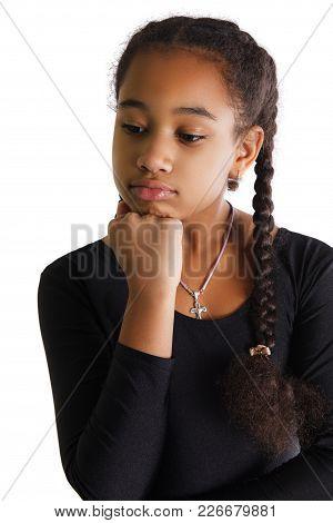 Portrait Of Sad Black Girl On White Background.