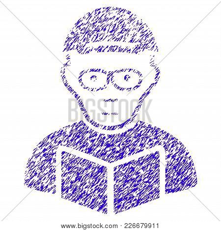 Grunge Reading Student Rubber Seal Stamp Watermark. Icon Symbol With Grunge Design And Scratched Tex
