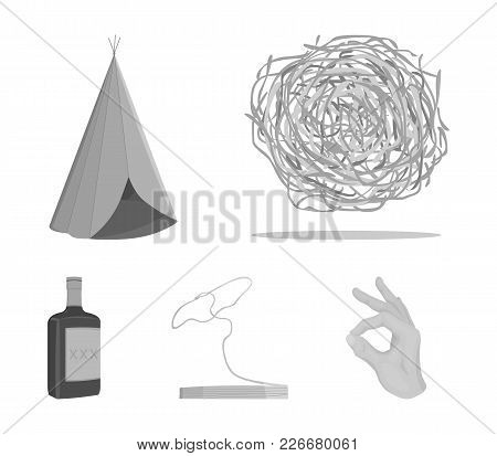 Roll-field, Indian Wigwam, Lasso, Whiskey Bottle. Wild West Set Collection Icons In Monochrome Style