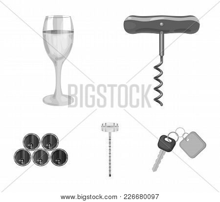 Corkscrew, Alcohol Counter, Barrels In The Vault, A Glass Of White Wine. Wine Production Set Collect