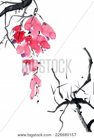 Watercolor And Ink Illustration Of Blossom Tree. Branch With Red Flowers. Sumi-e, U-sin Painting.
